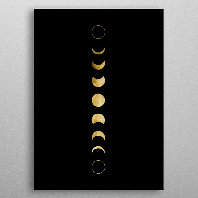 A minimal illustration of the phases of the moon in this vertical position line art. metal poster