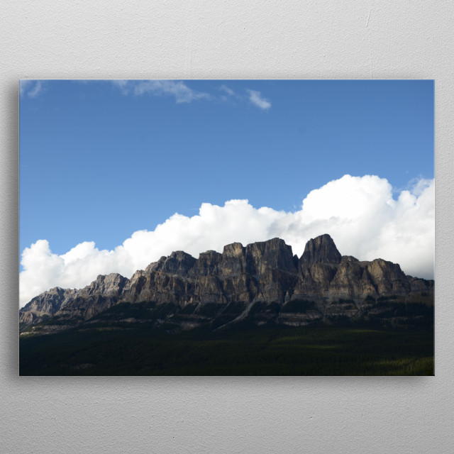 Castle Mountain in Banff National Park traced by clouds. metal poster
