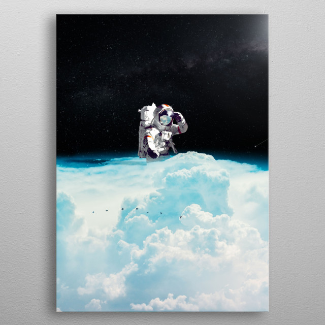 Get this astronaut in a sea of cloud. metal poster