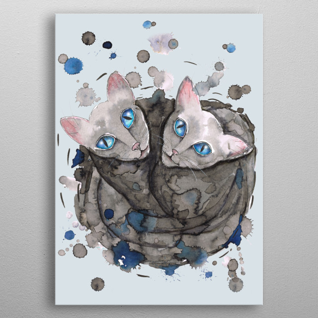 A wild portrait in ink with water from two gray cats. You see them from above and they are intimately intertwined. metal poster