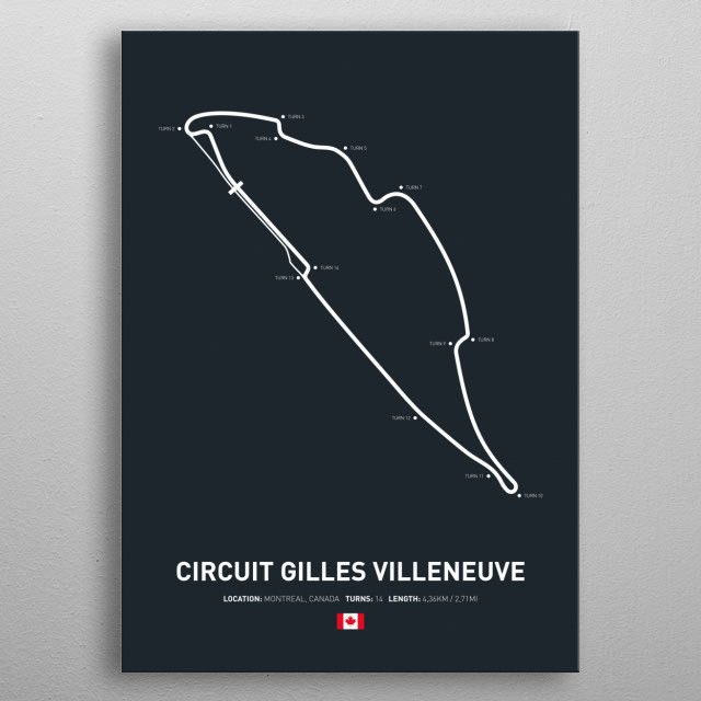Illustration of the Circuit layout from Circuit Gilles Villeneuve. metal poster