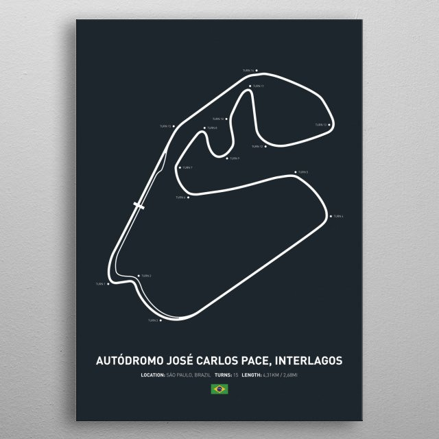 Illustration of the Circuit layout from Autodromo Jose Carlos Pace, Interlagos. metal poster