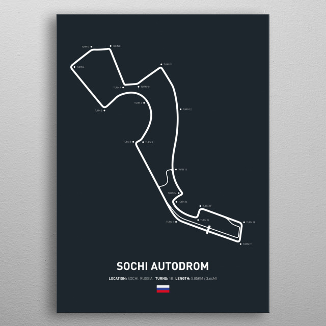 Illustration of the Circuit layout from Sochi Autodrom. metal poster