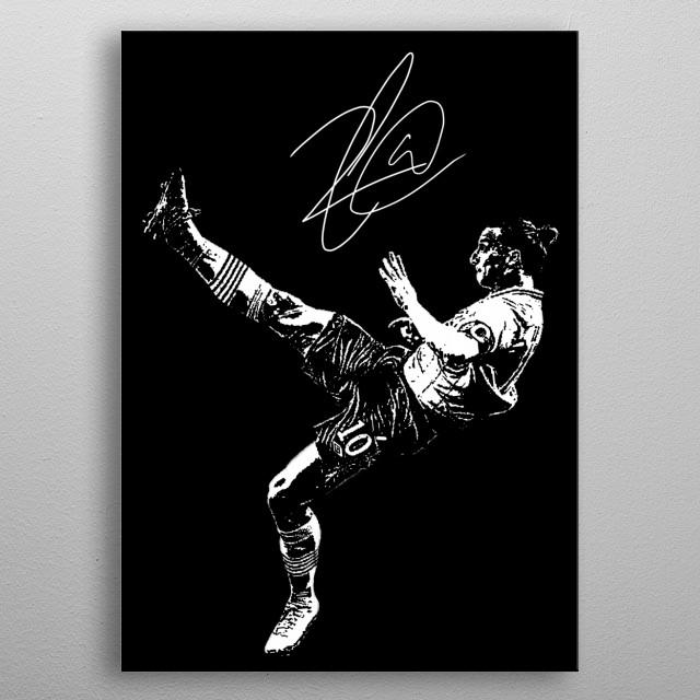 Illustration of Zlatan Ibrahimovic metal poster