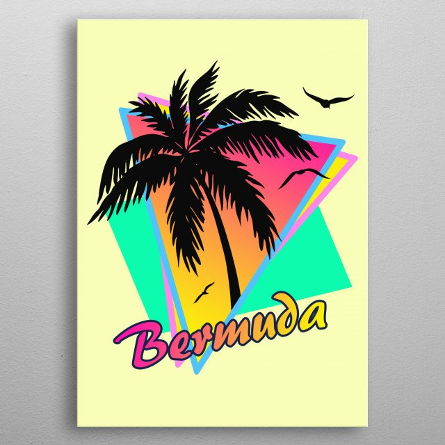 Inspired by the hot summers of the 1980s. Features a beautiful sunset, a palm tree and seagulls and pop art synth like triangle patterns.  metal poster