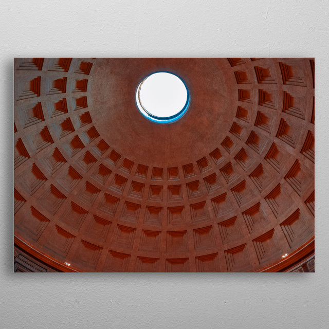 Photograph displaying the ceiling of the Pantheon. metal poster