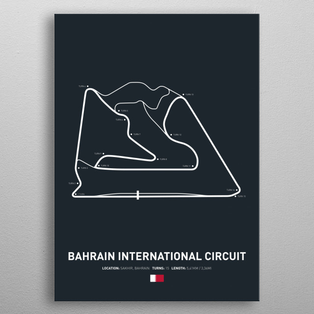 Illustration of the Circuit layout from Bahrain International Circuit. metal poster