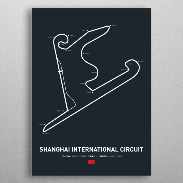 Illustration of the Circuit layout from Shanghai International Circuit. metal poster