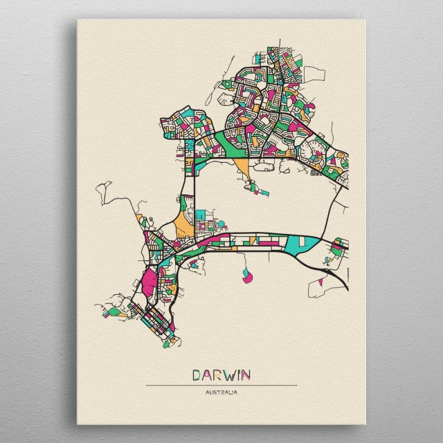 Colorful street map of Darwin, Australia. The map is randomly painted with modern and pop colors to give abstract look to the design. metal poster