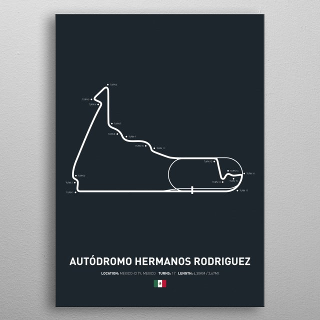 Illustration of the Circuit layout from Autodromo Hermanos Rodriguez. metal poster