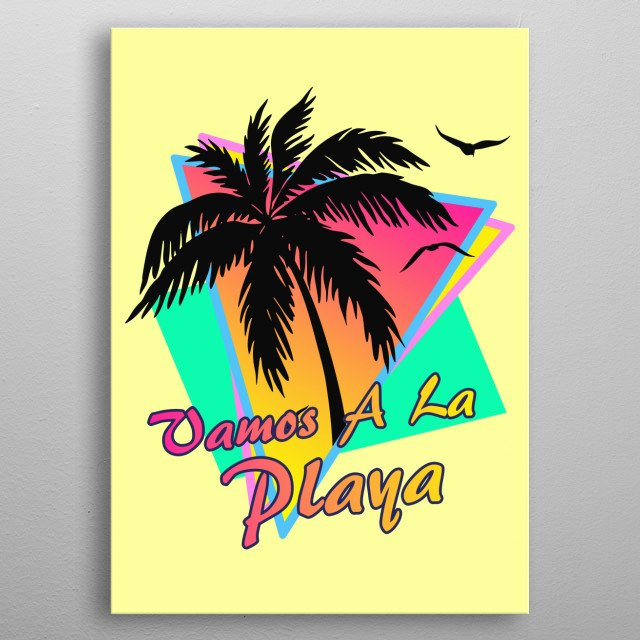 Inspired by the hot summers of the 1980s features a beautiful sunset, a palm tree and seagulls and classic pop art synth like triangle patte metal poster