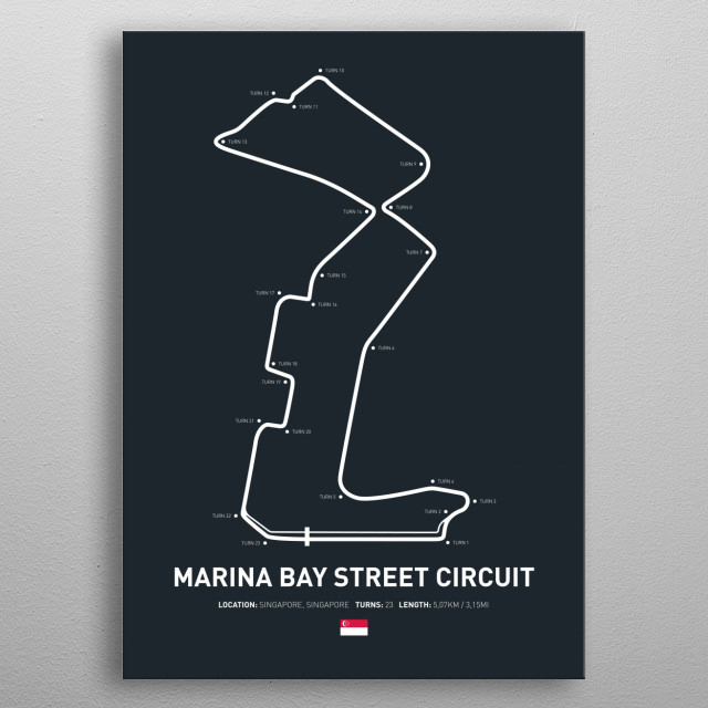 Illustration of the Circuit layout from Marina Bay Street Circuit. metal poster