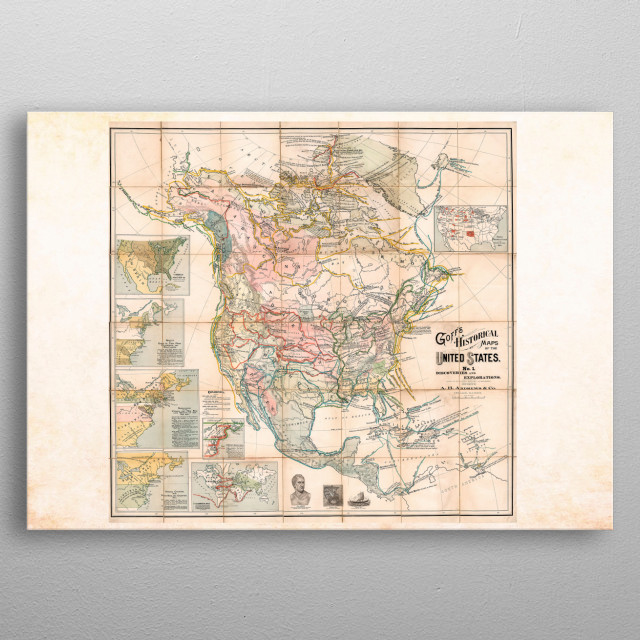 Historical map of the USA Vintage Posters Poster Print ...