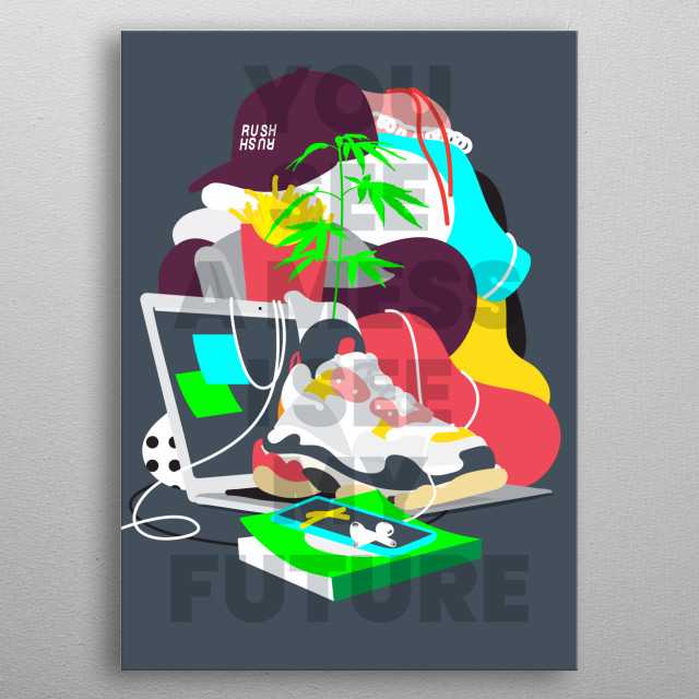New versions of altars inspired by the clutter composition of personal messy spaces. metal poster