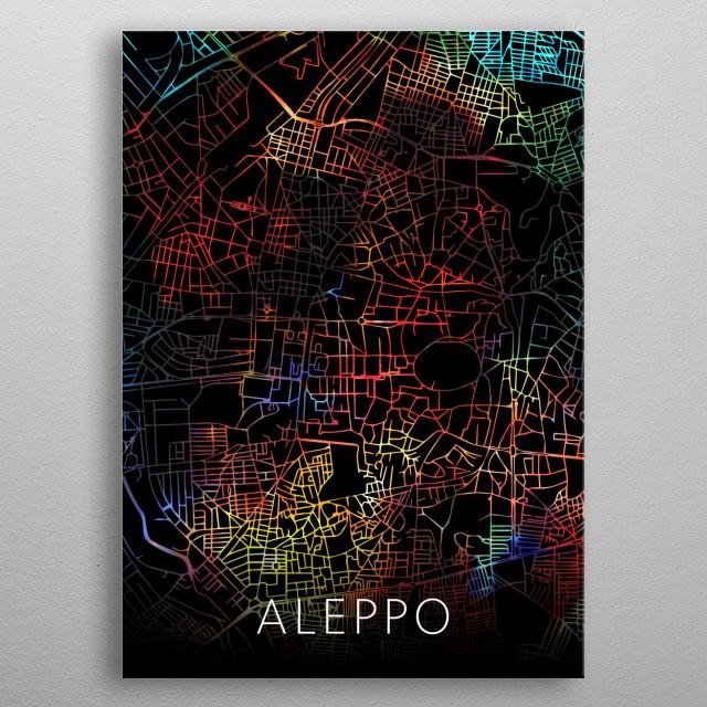 Aleppo Syria City Street Map Watercolor Dark Mode metal poster