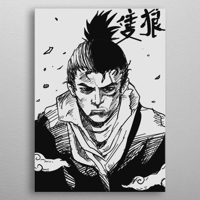 """A portrait art of the famous one armed wolf """"Sekiro"""" in manga style.   metal poster"""
