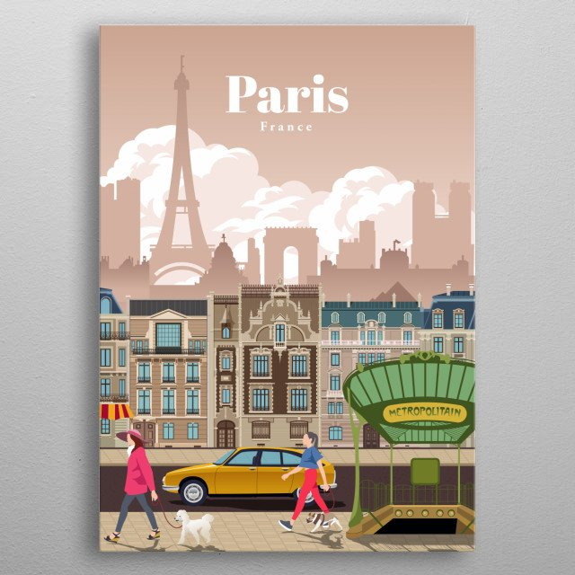 Digital illustration of the Paris skyline and architecture, and its infamous car, the Citroen with their famous subway train station.   metal poster
