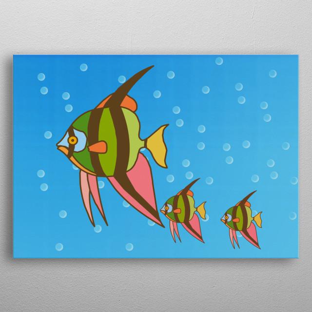 Angel fish family in . funny. Flash. Bubbling water. Aquarium. Sky Blue color variant. Flocking fishes. Minimalistic. Cartoons. metal poster