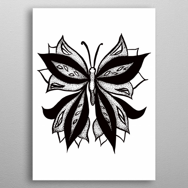 Abstract butterfly ink drawing depicting this beautiful insect with weird wings stipple shaded in black, white and dots.  metal poster