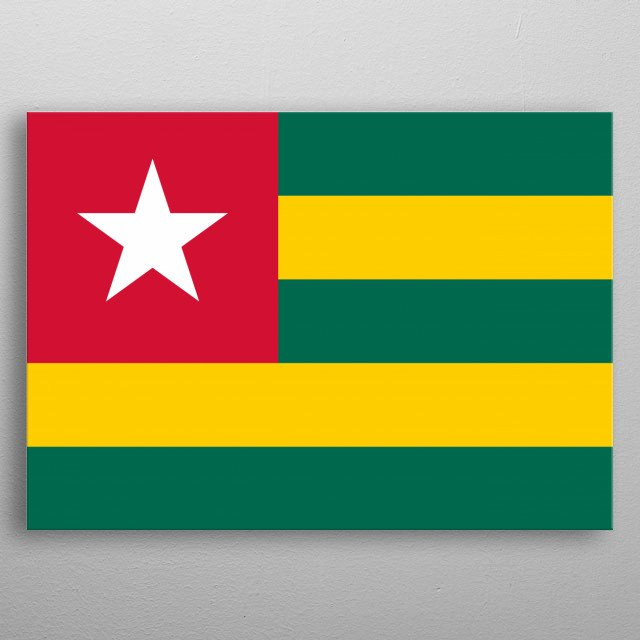 The flag of Togo. The national flag, ensign, and naval jack of Togo.  metal poster