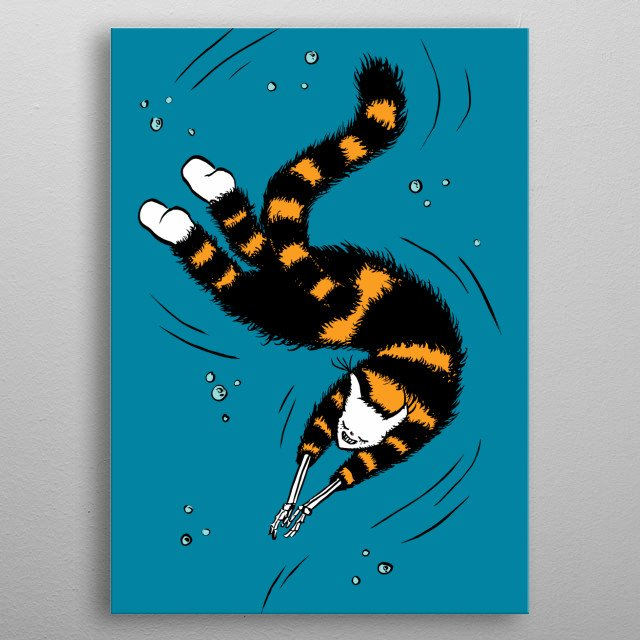 Weird striped cat with bone hands swimming happily in the sea. Creepy ink illustration of a strange kitty with flesh stripped from its hands metal poster