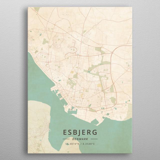 Esbjerg Denmark Maps Poster Print   metal posters - Displate