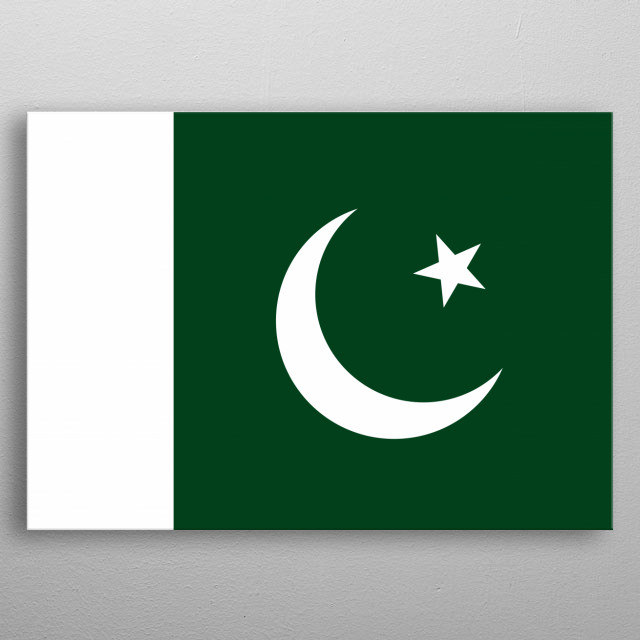 The national flag of Pakistan. A white star and crescent on a dark green field, with a vertical white stripe at the hoist metal poster