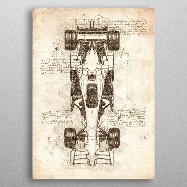 Sketch of a Formula 1 Car with a Top View metal poster