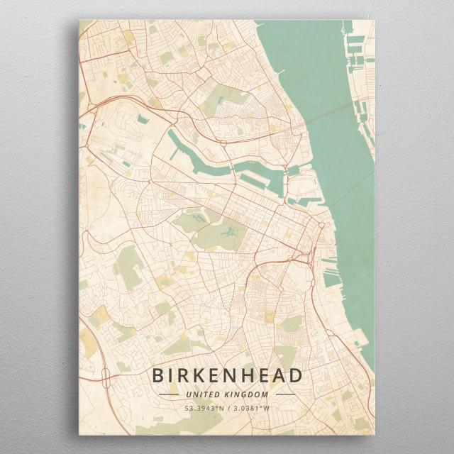 Birkenhead United Kingdom Maps Poster Print | metal posters ...