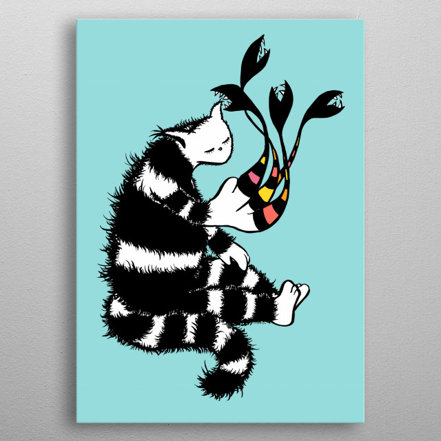 Weird cat ink drawing depicting a strange fluffy black and white kitty character sitting, one of its paws deformed and merged into flowers. metal poster