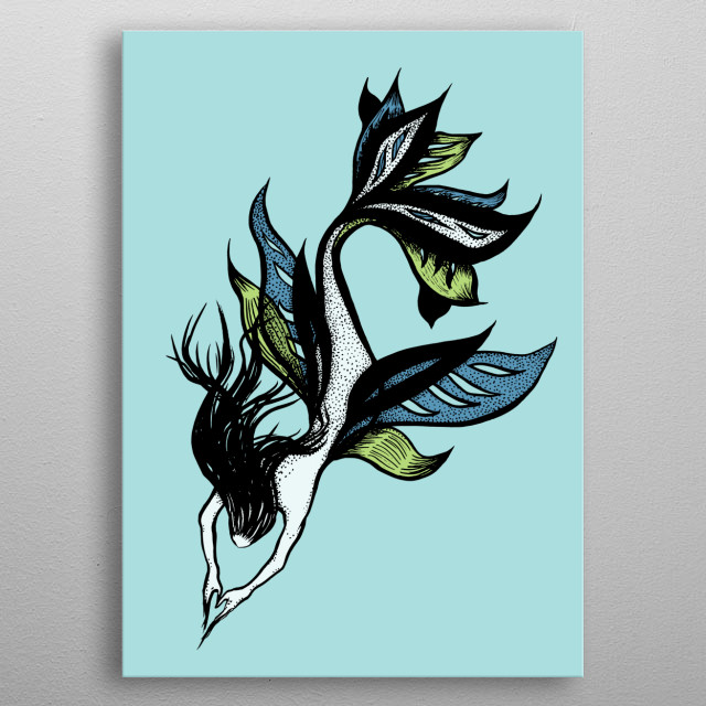 Beautiful mermaid drawing with an ink illustration depicting a beautiful sea creature - half-fish, half-woman figure in blue and green. metal poster