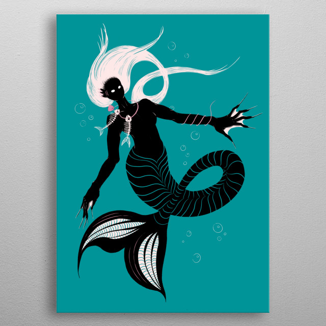 Dark mermaid illustration depicting a beautiful black sea creature - half-fish, half-woman figure with black skin, glowing eyes, white hair. metal poster