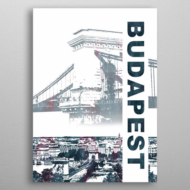Skyline and landmark metal poster