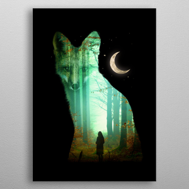 A misty forest in a fox. metal poster