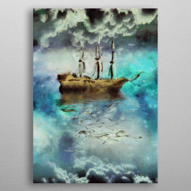 Surreal painting. Ancient ship in the sky metal poster