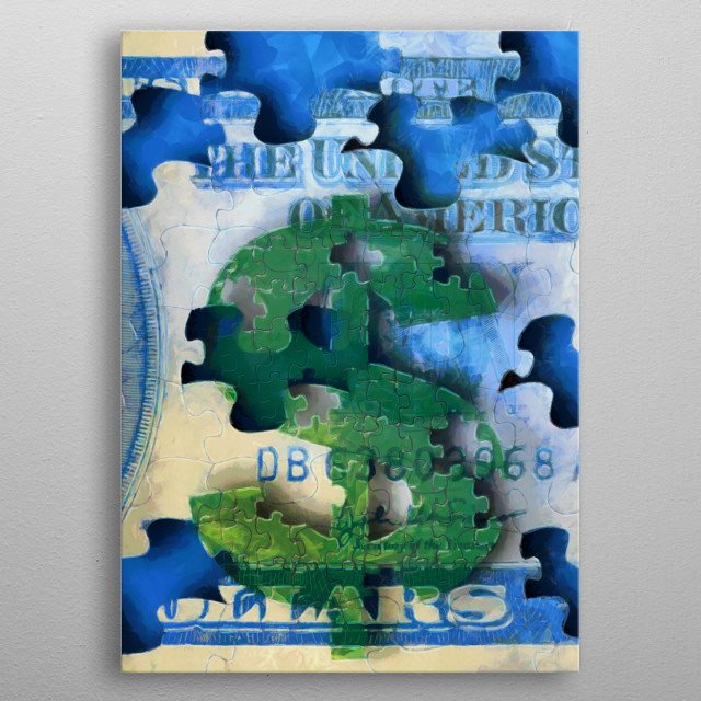 Painting. Dollar sign in shape of pieces of puzzle metal poster