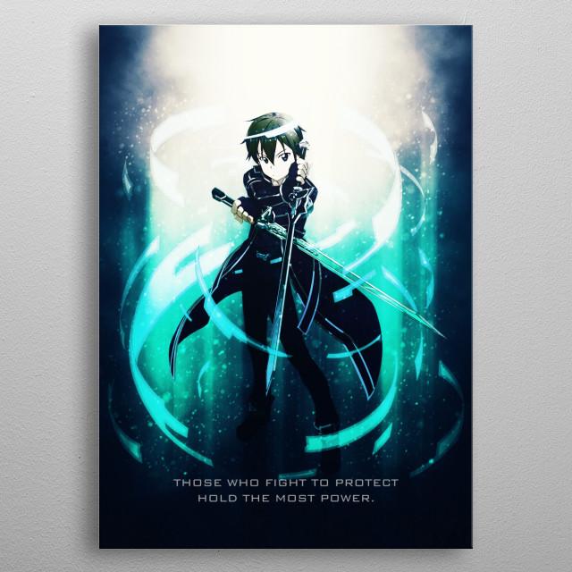 Kirito tagline from Sword Art Online SAO. metal poster
