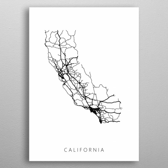 Map of California created by roads and highways. metal poster