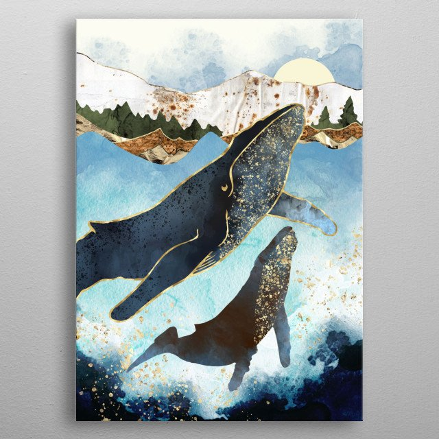 Abstract depiction of a mother and child bond of whales with indigo, gold and green metal poster