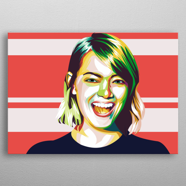 Emma Stone in Popart design. Modern design full color is awesome. metal poster