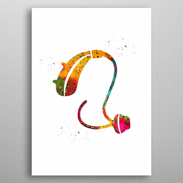 Hearing Aid, hearing device ,watercolor, medical art, poster, wall decor, Cochlear Implant Art, Deaf, Audiologist Audiology Art metal poster