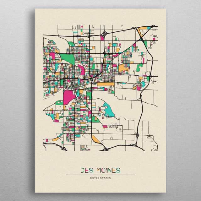 Colorful street map of Des Moines, Iowa. The map is randomly painted with modern and pop colors to give abstract look to the design. metal poster
