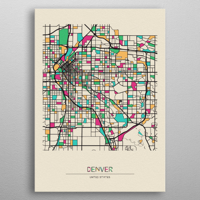 Colorful street map of Denver, Colorado. The map is randomly painted with modern and pop colors to give abstract look to the design. metal poster