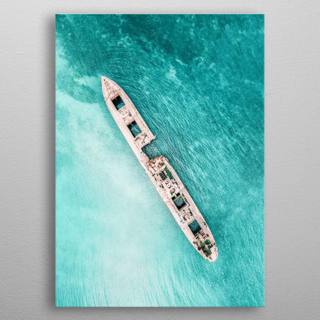 Shipwreck Poster, Ocean Print, Ocean Poster, Aerial Poster, Aerial Wall Art, Ocean Wall Art, Coastal Print metal poster