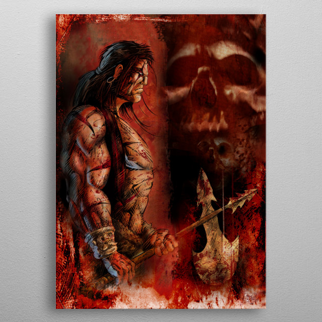 Barbarian holding his axe in front of menacing skulls. Main character of the comic BRAM THE YACOI. metal poster