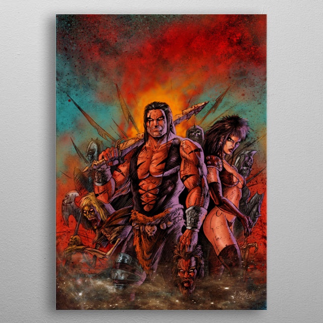 Barbarians rounded by zombie warriors. metal poster