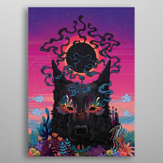 Colourful, psychedelic, black dog illustration. metal poster