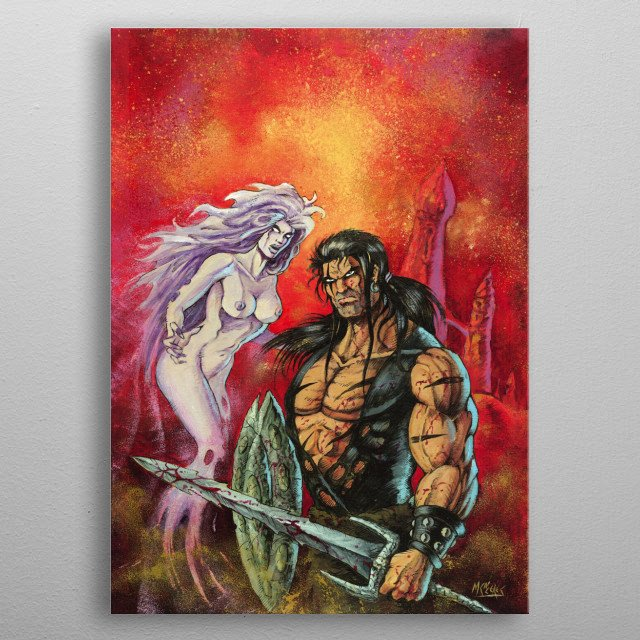 Barbarian warrior holding his sword. Main character of the comic BRAM THE YACOI metal poster