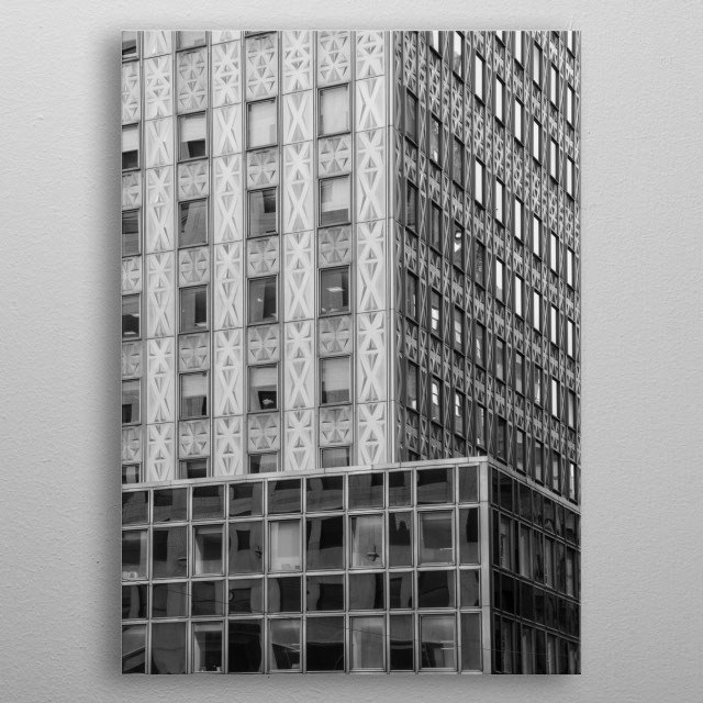 This New York City building has interesting geometric patterns. Black and white NYC architectural photography. metal poster