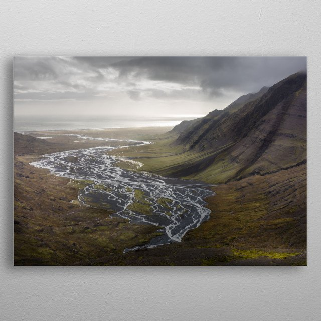 A river delta by the coast of Iceland metal poster